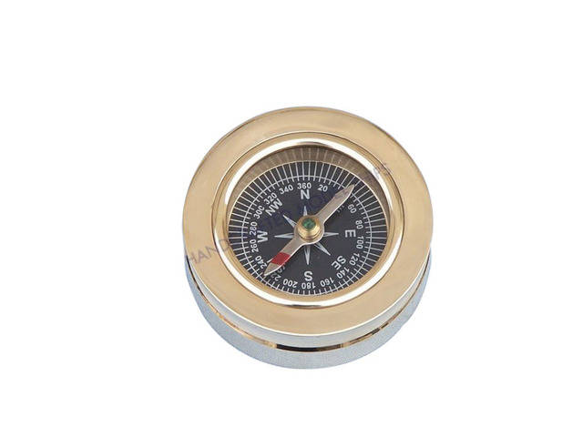 Solid Brass Paperweight Compass 3