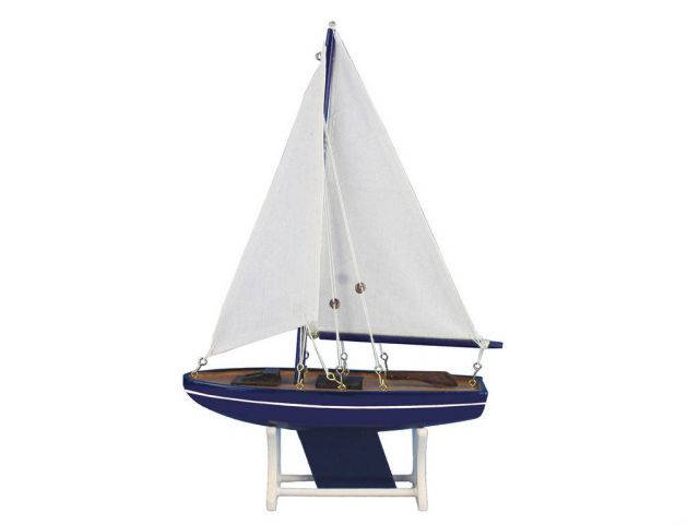 Wooden It Floats Blue Tide Model Sailboat 12