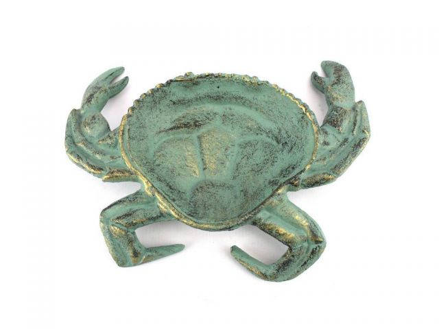 Antique Bronze Cast Iron Crab Decorative Bowl 7