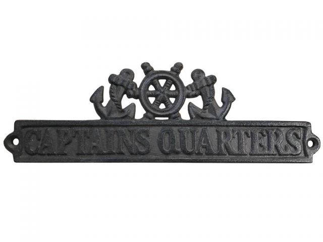 Cast Iron Captains Quarters Sign with Ship Wheel and Anchors 9
