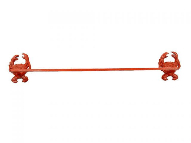 Rustic Red Whitewashed Cast Iron Crab Bath Towel Holder 27