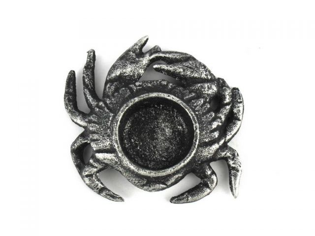 Antique Silver Cast Iron Crab Tealight Holder 4.5