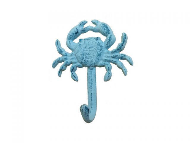 Rustic Blue Whitewashed Cast Iron Wall Mounted Crab Hook 5