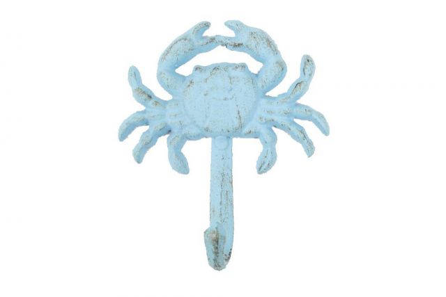 Rustic Light Blue Cast Iron Wall Mounted Crab Hook 5
