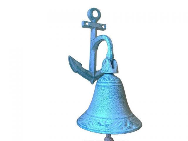 Dark Blue Whitewashed Cast Iron Wall Hanging Anchor Bell 8