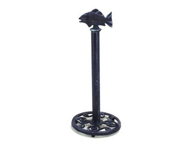 Rustic Dark Blue Cast Iron Fish Extra Toilet Paper Stand 15