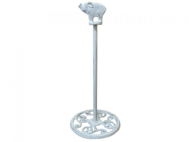 Whitewashed Cast Iron Pig Extra Toilet Paper Stand 15