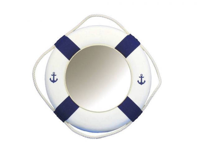 Classic White Decorative Anchor Lifering Mirror With Blue Bands 15