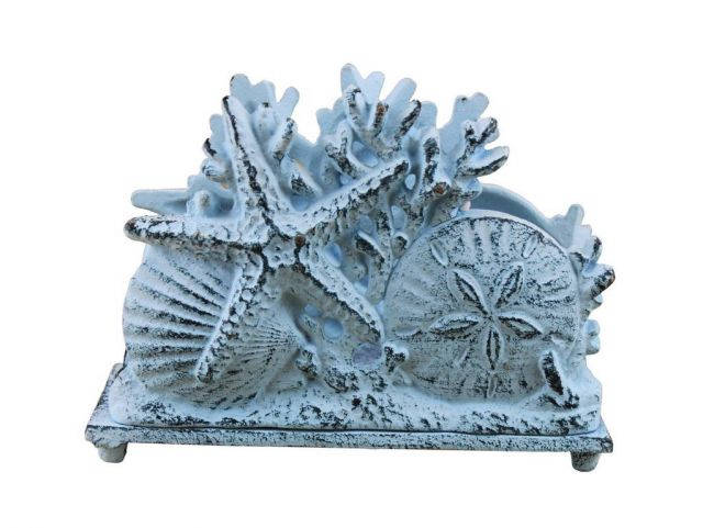 Rustic Dark Blue Whitewashed Cast Iron Seashell Napkin Holder 7