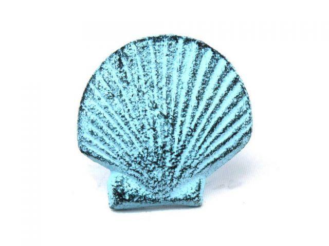Dark Blue Whitewashed Cast Iron Seashell Napkin Ring 2 - set of 2