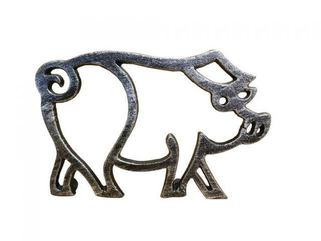 Rustic Silver Cast Iron Pig Shaped Trivet 8