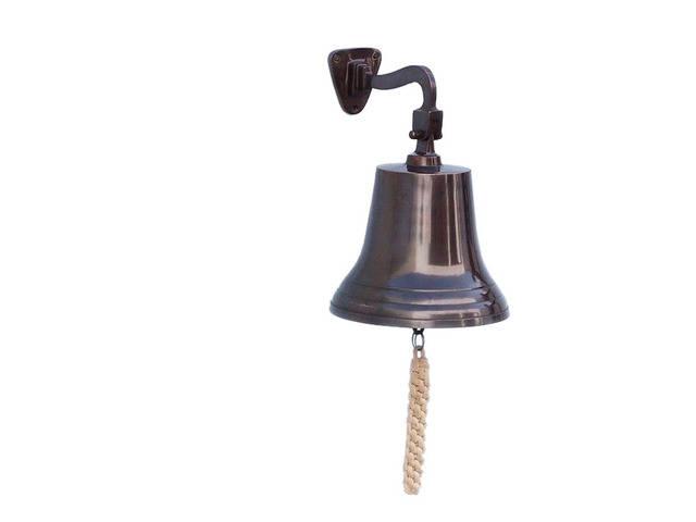 Antiqued Copper Hanging Ships Bell 11