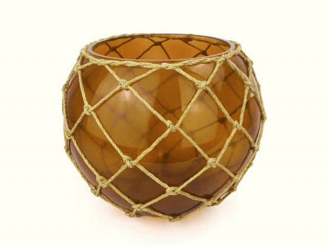 Amber Japanese Glass Fishing Float Bowl with Decorative Brown Fish Netting 10