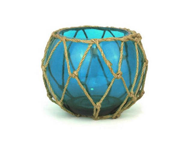 Light Blue Japanese Glass Fishing Float Bowl with Decorative Brown Fish Netting 6