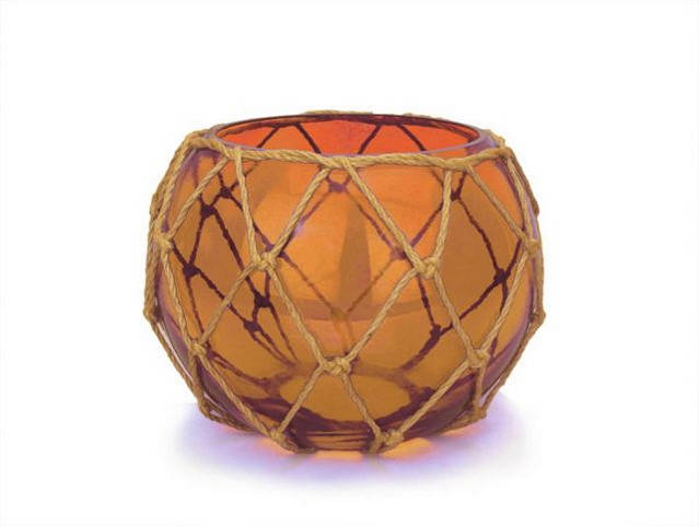 Orange Japanese Glass Fishing Float Bowl with Decorative Brown Fish Netting 8