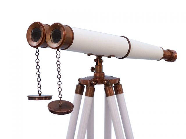 Floor Standing Admirals Antique Copper With White Leather Binoculars 62