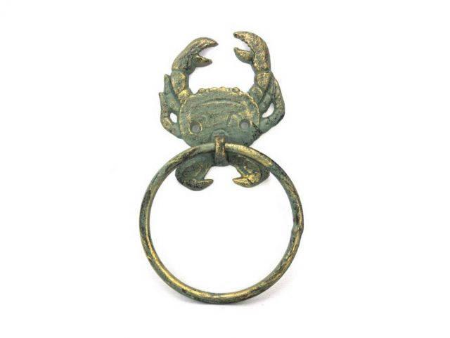 Antique Bronze Cast Iron Crab Towel Holder 8