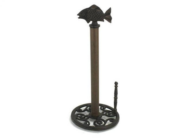 Cast Iron Fish Paper Towel Holder 15