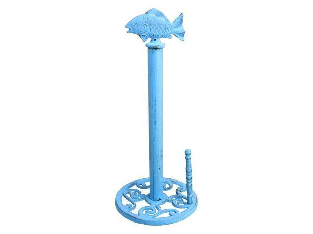 Rustic Light Blue Cast Iron Fish Paper Towel Holder 15