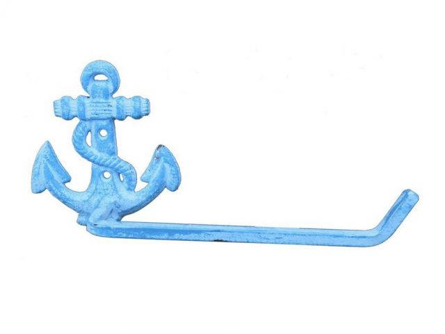 Light Blue Whitewashed Cast Iron Anchor Toilet Paper Holder 10