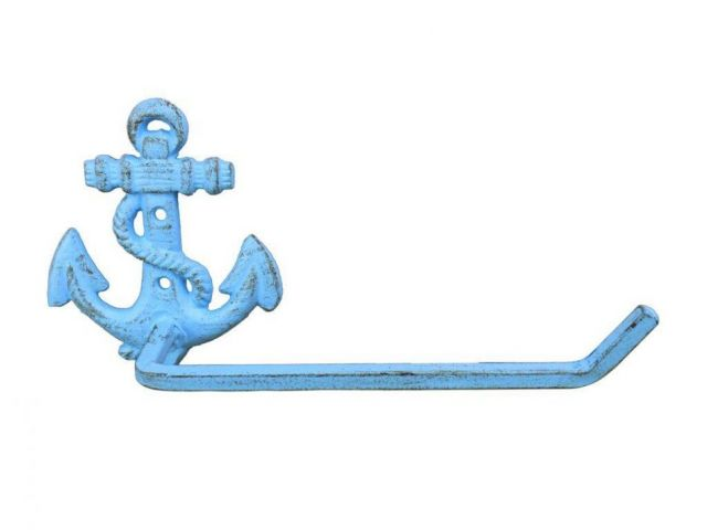 Rustic Light Blue Cast Iron Anchor Toilet Paper Holder 10