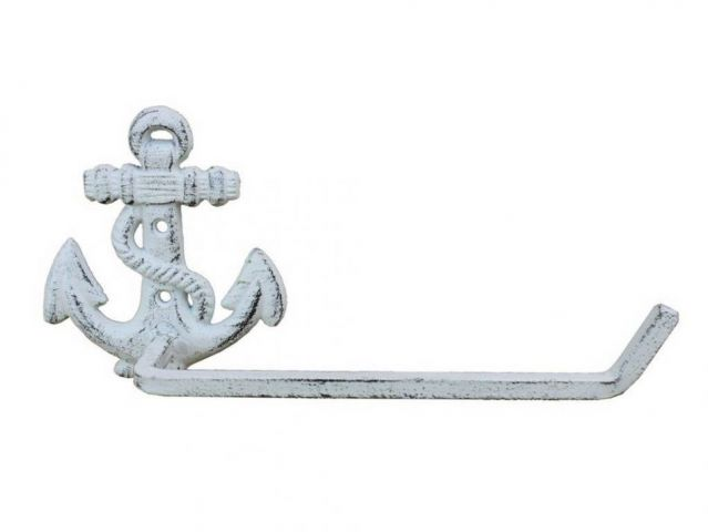 Whitewashed Cast Iron Anchor Toilet Paper Holder 10