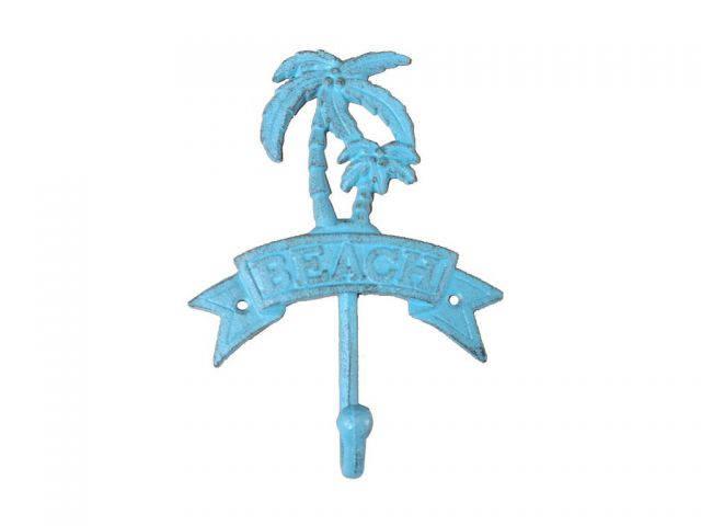 Rustic Light Blue Cast Iron Palm Tree Beach Hook 8