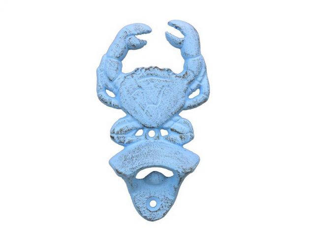 Rustic Light Blue Cast Iron Wall Mounted Crab Bottle Opener 6