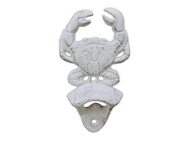 Whitewashed Cast Iron Wall Mounted Crab Bottle Opener 6