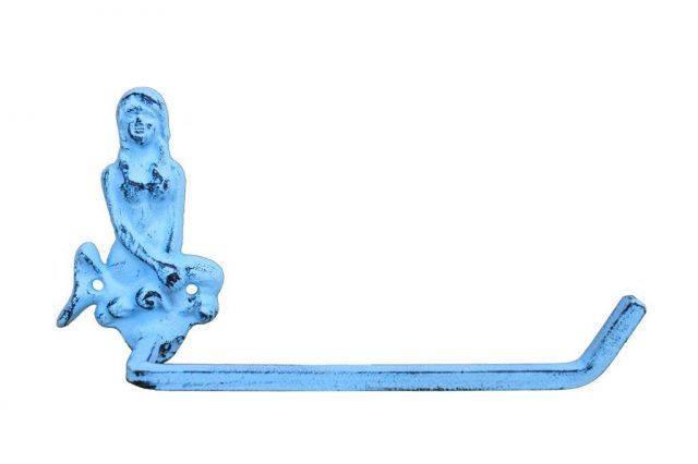 Dark Blue Whitewashed Cast Iron Mermaid Toilet Paper Holder 10