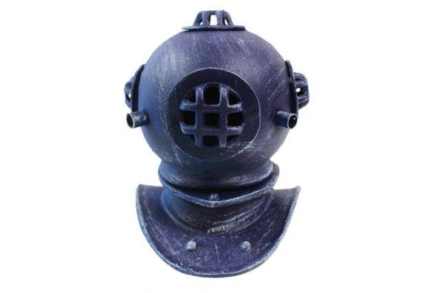 Rustic Dark Blue Cast Iron Decorative Divers Helmet 9
