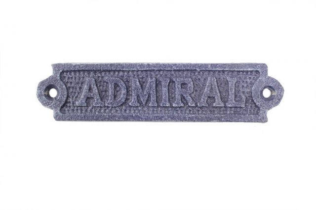 Rustic Dark Blue Cast Iron Admiral Sign 6