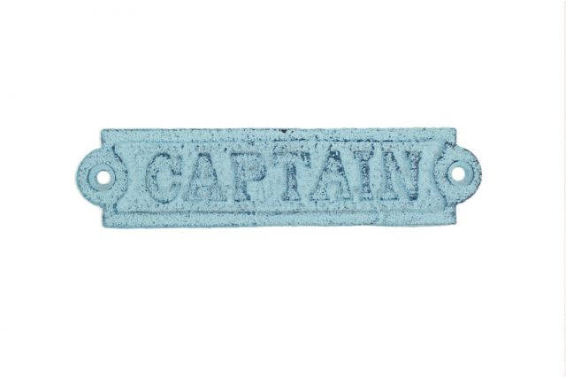 Rustic Dark Blue Whitewashed Cast Iron Captain Sign 6