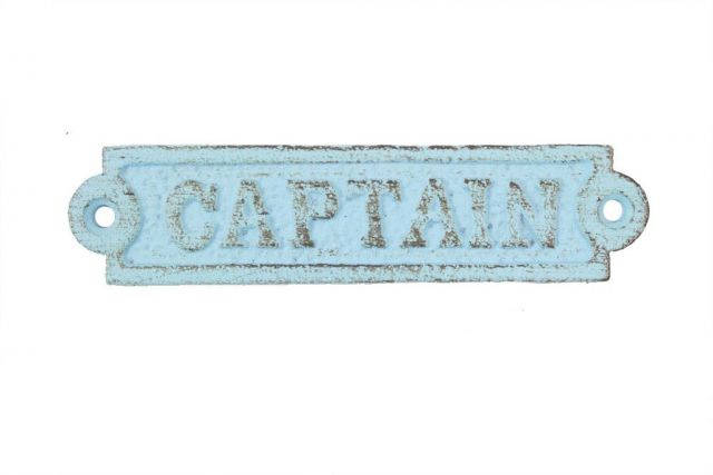 Rustic Light Blue Cast Iron Captain Sign 6