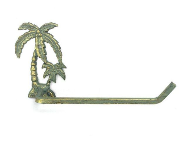 Antique Bronze Cast Iron Palm Tree Toilet Paper Holder 10