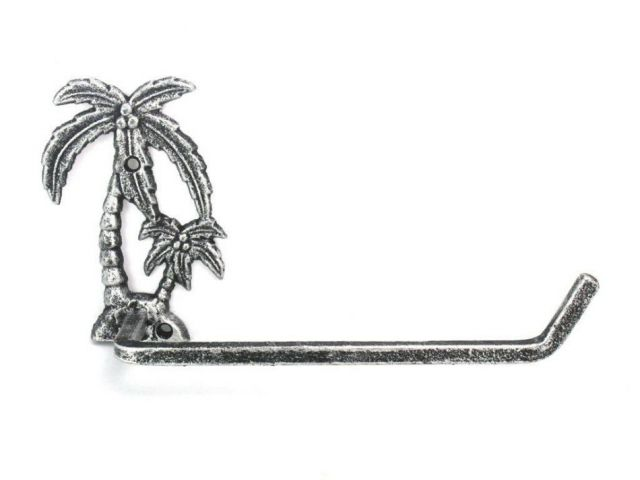 Antique Silver Cast Iron Palm Tree Toilet Paper Holder 10