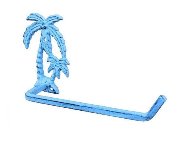 Dark Blue Whitewashed Cast Iron Palm Tree Toilet Paper Holder 10