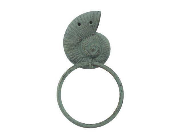 Antique Bronze Cast Iron Sea Snail Towel Holder 8.5