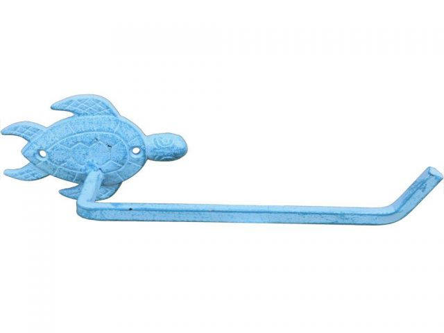 Light Blue Whitewashed Cast Iron Sea Turtle Toilet Paper Holder 10