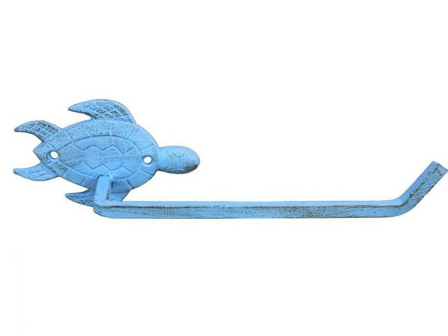 Rustic Light Blue Cast Iron Sea Turtle Toilet Paper Holder 10