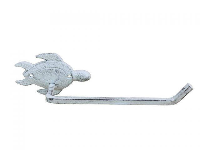Whitewashed Cast Iron Sea Turtle Toilet Paper Holder 10