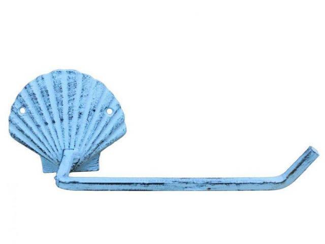 Dark Blue Whitewashed Cast Iron Shell Toilet Paper Holder 10