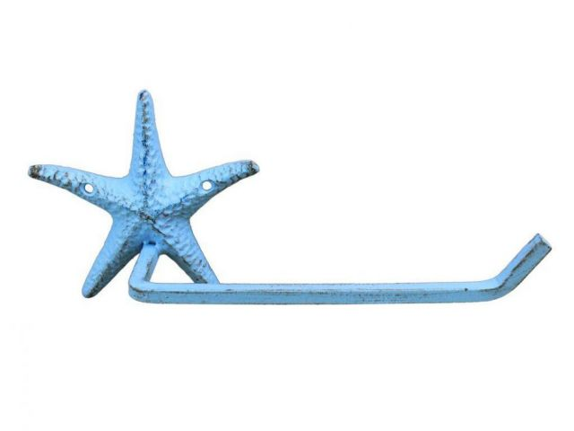Rustic Light Blue Cast Iron Starfish Toilet Paper Holder 10