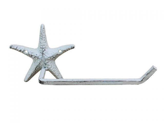 Whitewashed Cast Iron Starfish Toilet Paper Holder 10