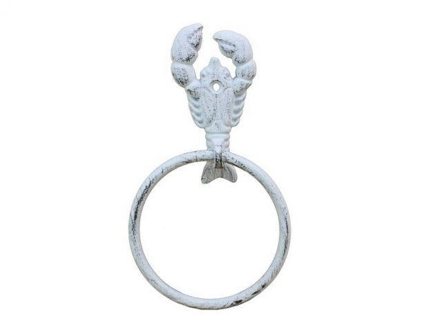 Whitewashed Cast Iron Lobster Towel Holder 9
