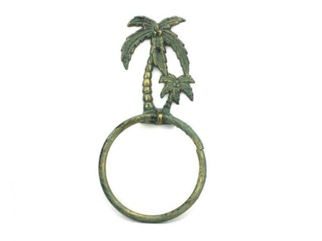 Antique Bronze Cast Iron Palm Tree Towel Holder 9
