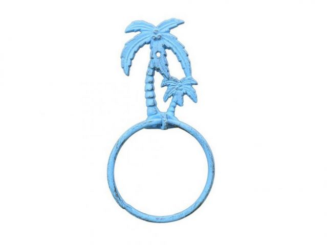 Rustic Light Blue Cast Iron Palm Tree Towel Holder 9