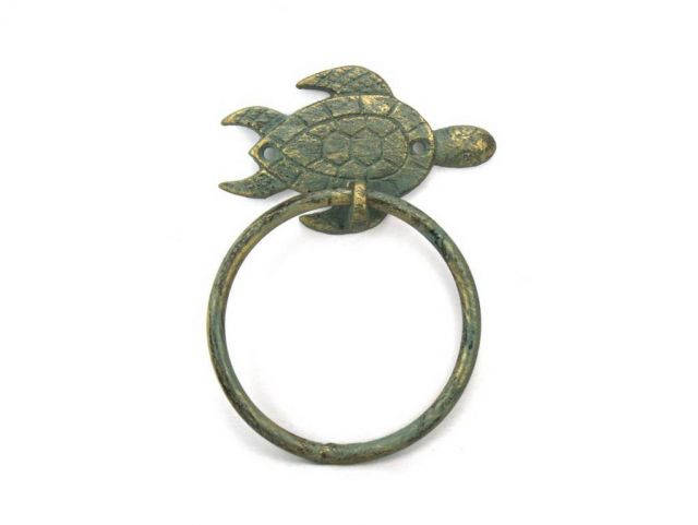 Antique Bronze Cast Iron Sea Turtle Towel Holder 7