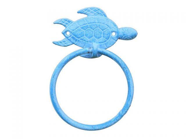 Light Blue Whitewashed Cast Iron Sea Turtle Towel Holder 7