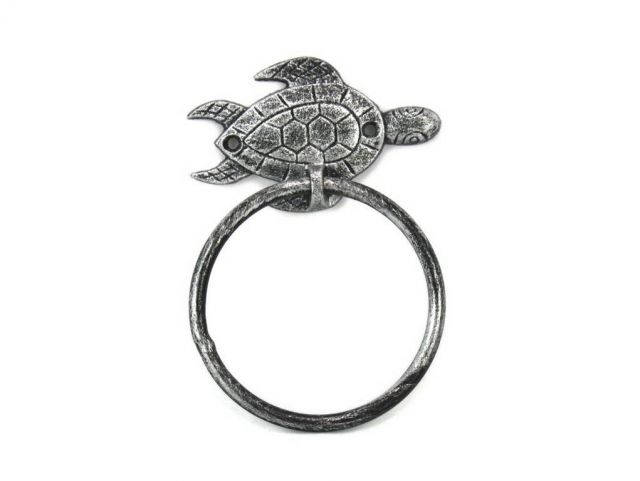 Antique Silver Cast Iron Sea Turtle Towel Holder 7